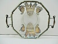 Sterling Silver Overlay Small Handled Glass Plate Vintage