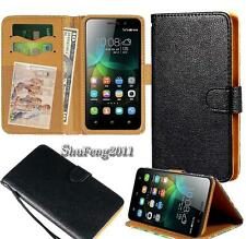Black Flip Cover Stand Wallet Leather Case For Various Huawei Honor SmartPhones