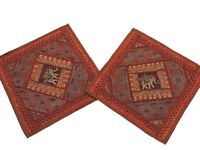 Brown Sari Bedroom Pillows 2 India Decor Handmade Patchwork Sofa Cushion Covers