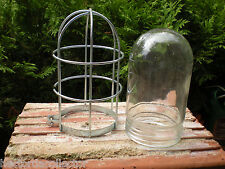 SALE Industrial / Barn Safety Light Cage + Glass Shade Shabby Chic Crouse Hinds