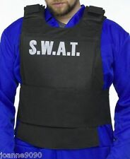 Mens SWAT Team Stab Vest Police Fancy Dress Costume FBI Tactical Military Outfit