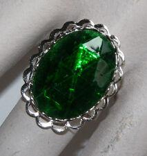 Vintage Emerald Green Patchwork Cut Glass Oval Ring Silver Adjustable Big