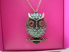 Betsey Johnson gold tone aqua bead owl~pink crystal eyes necklace,N/B