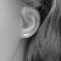 Feather Ear Climber, Ear Cuffs Earrings - Bohemian Boho Hippie Ear Stud Women