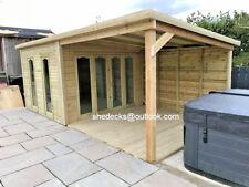 16x10 Pent Contemporary Summerhouse Garden Log Cabin with Veranda 19mm Treated