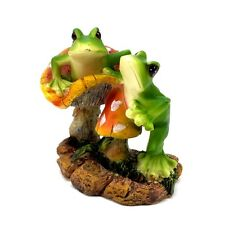 Two Frogs on Mushroom Figurine Statue Collectible Home Decor