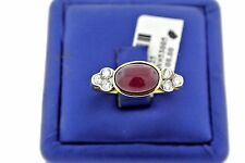 18k Yellow Gold 3.00 Ct Cabochon Ruby & Diamond Ring, 5.8gm, Size 10.5