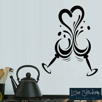 Wall Stickers Wine Glasses Heart Love Kitchen Restaurant Art Decals Vinyl Home