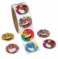 """Funky Smile Face Roll Stickers (100 Stickers) 1 1/2"""""""