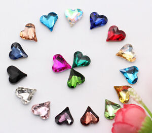 100 Pcs Heart of the peach Color Glass Crystal Rhinestone Jewels Faceted