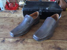 MENS BROWN LEATHER UNSUNG HERO SLIP ON SHOES SIZE 7 BRAND NEW IN BOX