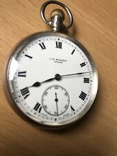J W Benson Gent's Sterling Silver pocket watch with dual chronograph, c1910