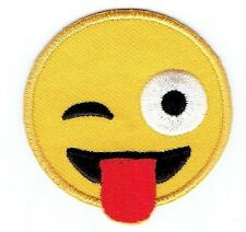 Iron On Embroidered Applique Patch - Smiley Face Emoji - Winking with Tongue