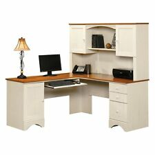 Sauder Harbor View Corner Computer Desk with Hutch -, Antiqued White