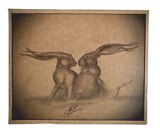 Cute Vintage Love Hares Bunny Rabbit Original Drawing Signed Ltd Edition Print