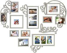 Photo Frame Set Silver Heart Love Scroll 10-Piece Wall Art Decor Home Decoration