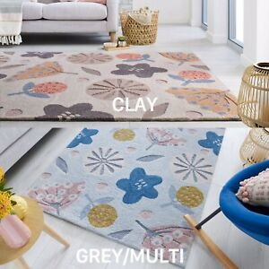 NEW ZEST SCANDI FLORAL DESIGN HAND CARVED RUG IN CLAY & GREY MULTI
