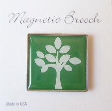 Magnetic Brooch Clip Clasp Pin Green Tree Design Accessory Scarves Shawls
