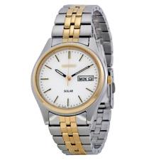 Seiko SNE032 Solar Mens White Dial Two-Tone Stainless Steel Bracelet Dress Watch