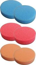 6 Pack 2 inch Lake Country Hydro-Tech 2 Each Tangerine, Crimson, Cyan Foam Pad