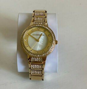 NEW! LIZ CLAIBORNE CRYSTALS GLITZ CHAMPAGNE GOLD-TONE BRACELET WATCH $85 SALE