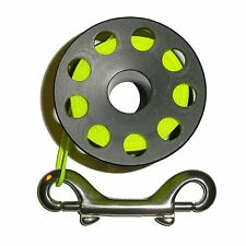 100ft Finger Spool Hand Reel with High Visibility Line - Yellow with Bolt Snap