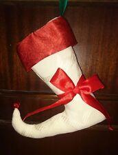 Medias de Navidad Bufón-Crema Pequeño Con Puño Rojo