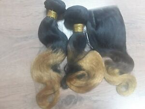 2BUNDLE+CLOSURE PERUVIAN OMBRE BODY WAVE HAIR 2TONE 1b/33 250g 12A ON SALES ONLY
