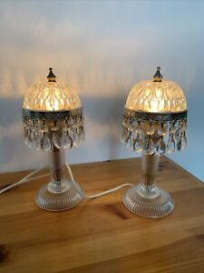 Michelotti  Pair Of Vintage Glass Lamps Holland 11 Inches Read Notes ⭐️ Vintage