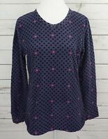 Climate Right Cuddl Duds Fleece Top Womens Large Gray Polka Dot Long Sleeve