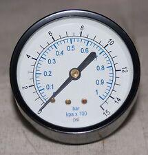 """0-15 PSI 1/4"""" NPT  2.5"""" Dial Pressure Gauge"""