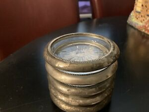 glass coasters with silver trim