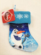 "Nwt Disney Frozen Olaf Snowman 7"" Mini Small Stocking Blue Snowflakes Satin"