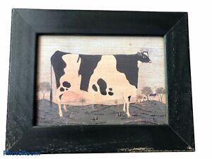 Warren Kimble American Folk Art Framed Picture of Cow in a Field Green