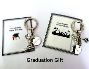 Graduation Gift Keepsake Key Ring Bag Charm Mortarboard Congratulations