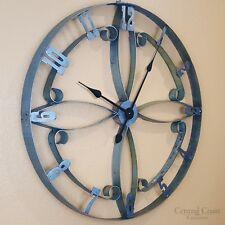 Wine Barrel Steel Hoop FLOWER Clock Large Wall Rustic Furniture Decor Handmade