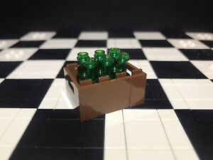 Lego Utensil Crate With 6X Green Translucent Bottles / Minifigure Not Included.
