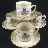 Set of 4 VTG Cups and Saucers International China Co Heartland Stoneware Farm