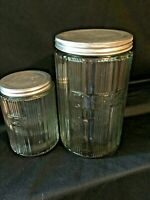 Hoosier Sellers Ribbed Canisters Tea Coffee Sneath Glass Co World War 2 Era X2