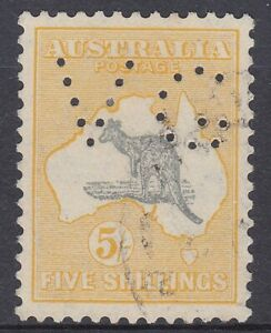 K1341) Australia 1932 5/- Grey & Yellow Kangaroo C oA wmk. Perf. VG., rare