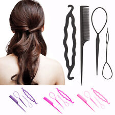 4Pcs Hair French Braid Topsy Tail Clip Styling Stick DIY Bun Maker Tool