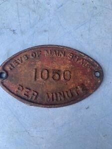 Vintage Agricultural Machine Plaque Sign Revs Per Minute