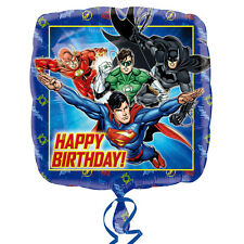 "JUSTICE LEAGUE 18"" Square HAPPY BIRTHDAY Foil Helium BALLOON Party Decoration"