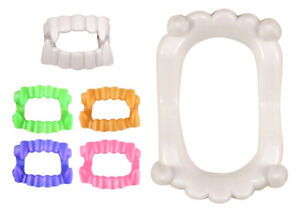6 Plastic Coloured Teeth Sets - Fangs Party Bag Vampire Childrens/Kids Halloween