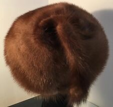 """VINTAGE REAL FUR HAT 19-20"""" SHINNY LT BROWN MINK WITH TAIL 'MISS STEHR'"""