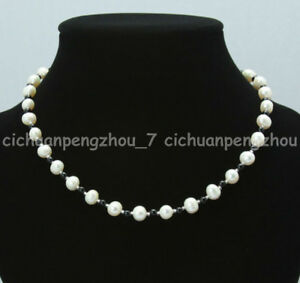 """Natural 7-8mm White Akoya Freshwater Pearl & 4mm Black Agate Necklace 16-100""""AAA"""