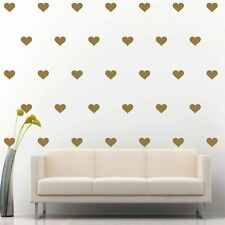 "96 of 3"" Gold Hearts DIY Removable Peel & Stick Wall Vinyl Decal Sticker"