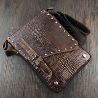 Men's Genuine Leather Small Crossbody Messenger Shoulder Bag Biker Studded Bag