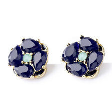 Unique Designer New York Deep Blue IZU Petal Cluster Graduated Studs Earrings