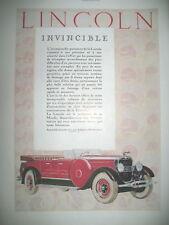 PUBLICITE DE PRESSE LINCOLN AUTOMOBILE INVINCIBLE FRENCH ADVERTISING R°/V° 1927